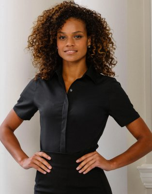 Dames Blouse Stretch Russell R-916F-0 Korte Mouw