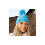 Muts Result cable knit pom pom beanie R149X